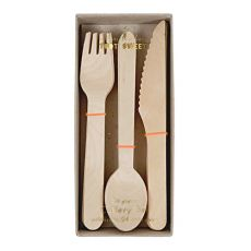 Natural Wooden Cutlery Set :: Meri Meri