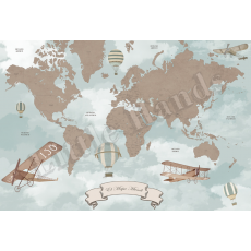 Vintage World Map Mura Wallpaper