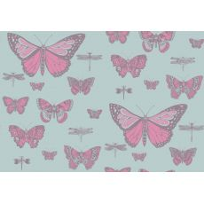 Butterflies & Dragonflies Wallpaper Pink on Blue