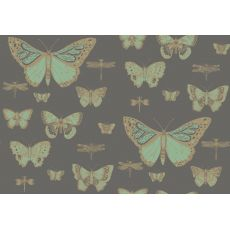Carta da Parati Butterflies & Dragonflies Emerald Green on Charcoal