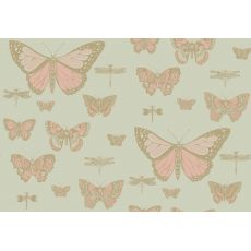 Carta da Parati Butterflies & Dragonflies Pink on Green