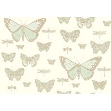 Carta da Parati Butterflies & Dragonflies Green on Beige