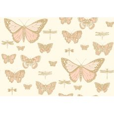 Carta da Parati Butterflies & Dragonflies Pink on Beige