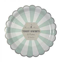 Toot Sweet Acqua Stripe Large Plates