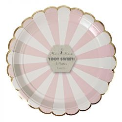 Dusty Pink Striped Larga Plates