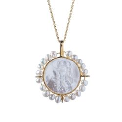 Small Round Guardian Angel with Pears Medal