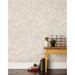 Petal Pusher Taupe Wallpaper