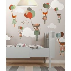 Fox with Balloons Wallpaper Mural