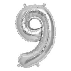 Silver Foil Number 9 Balloon