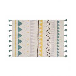 Tappeto Lavabile Piccolo Azteca Natural - Vintage Blu