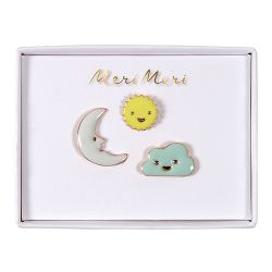 Sun, Moon & Cloud Enamel Pins