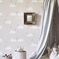 Swans Wallpaper Pale Rose