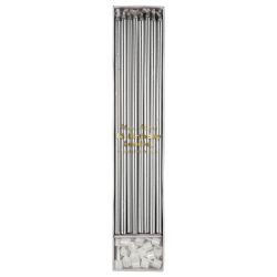 Long, tall Candles in silver from Meri Meri