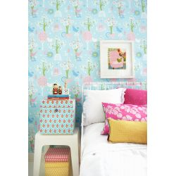 Cherry Valley Wallpaper Turquoise