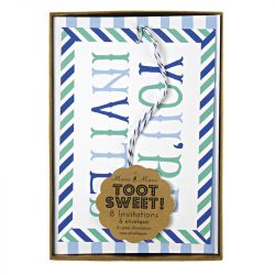 Toot Sweet Blue Invitations