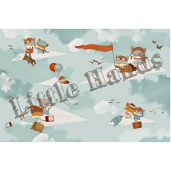 Fox Paper Planes Wallpaper Mural