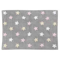 Tricolour Stars Grey Pink Rug