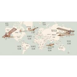 World Map Little Munnies Aviators Mural Wallpaper