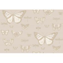 Carta da Parati Butterflies & Dragonflies Shades of Beige