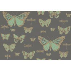 Carta da Parati Butterflies & Dragonflies Emerald Green on Charcoal