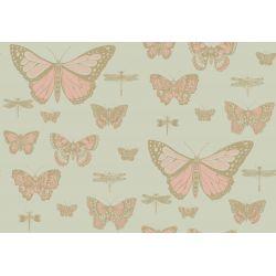 Butterflies & Dragonflies Wallpaper Pink on Green