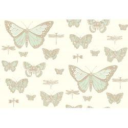 Carta da Parati Butterflies & Dragonflies Green on Beige