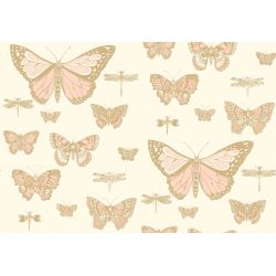 Butterflies & Dragonflies Wallpaper Pink on Beige