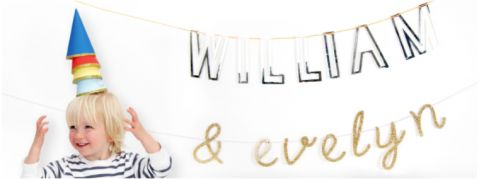 Silver L Acrylic Bunting from Meri Meri :: Baby Bottega