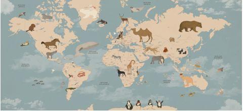 Murale Carta da Parati Mappamondo Animali