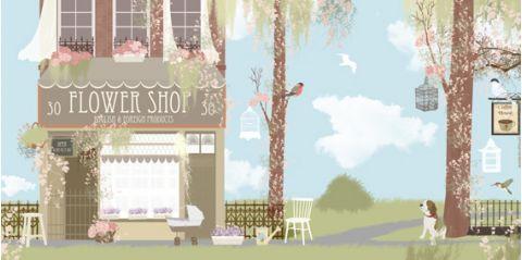 Murale Carta da Parati Flower Shop