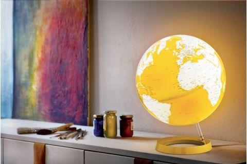 mappamondo globo giallo luce di notte tavolo atmosphere baby bottega ambiente