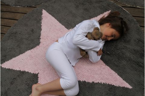 Round Pink Star Reversible Rug