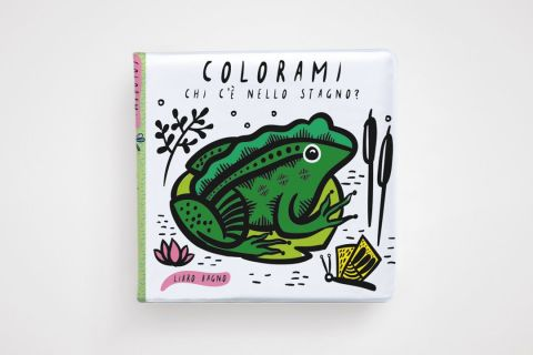 Color Me: Who's in the Pond? a bathtime coloring book from Ippocampo :: Available from Baby Bottega