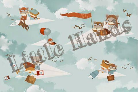 Murale Carta da Parati Fox Paper Planes