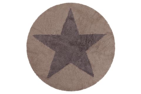 Reversible Round Star Dark Grey Rug
