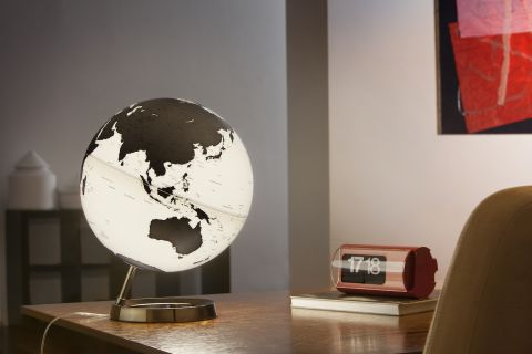 World Globe Charcoal Table Lamp