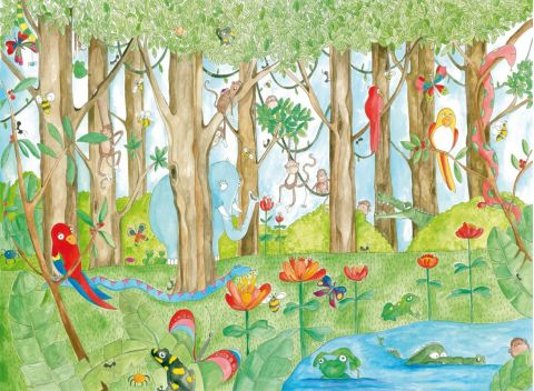 Jungle Dudes Color Wallpaper Mural