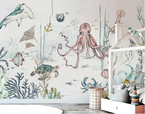 Underwater Wonders wallpaper 330 x 300 cm from Annet Weelinks Murals :: Baby Bottega