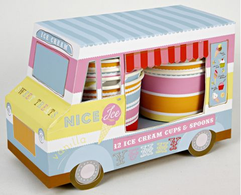 Ice Cream Van with Spoons and Cups