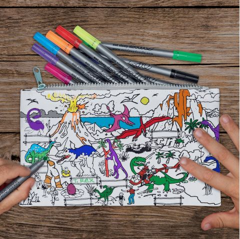 Dinosaur Doodle Pencil Case from Eat Sleep Doodle :: Baby Bottega