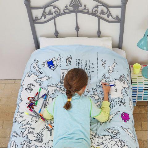 World Map Doodle Duvet from Eat Sleep Doodle :: Baby Bottega