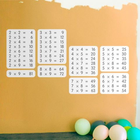 White Multiplication Table Wall Sticker
