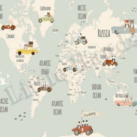 Little Munnies Racers World Map Wallpaper Mural