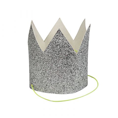 Mini Silver Glittered Crowns from Meri Meri :: Baby Bottega