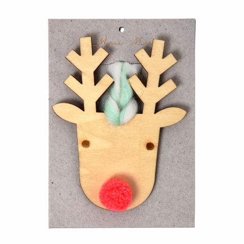 Christmas Eyched Wooden Reindeer Tree Decoration