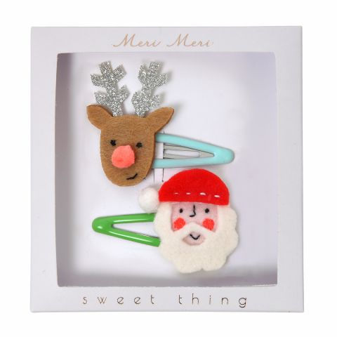 Santa & Reindeer Christmas Hair Clips