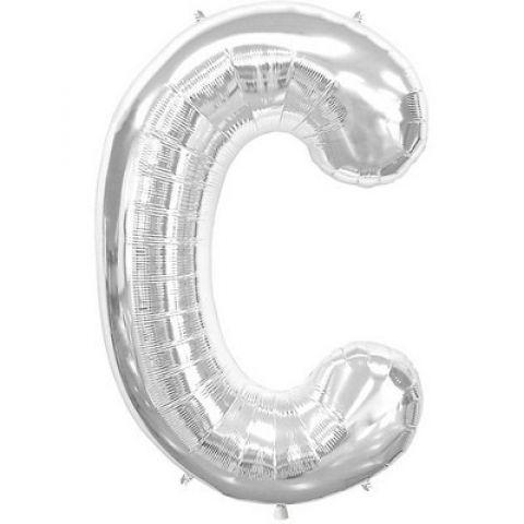 Silver Foil Letter C Balloon