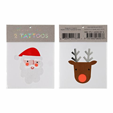 Santa & Reindeer Christmas Tattoos
