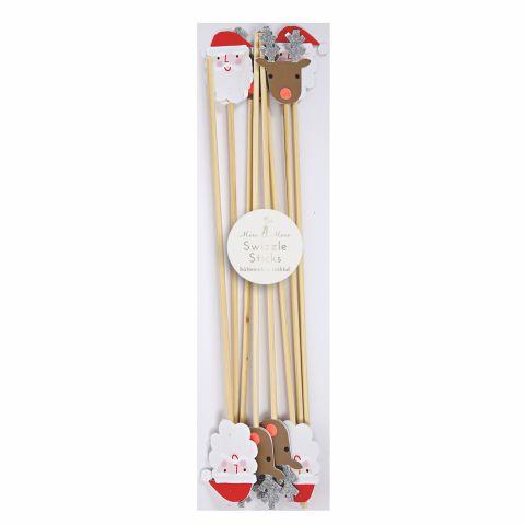 Santa & Reindeer Christmas Swizzle Sticks from Meri Meri :: Baby Bottega