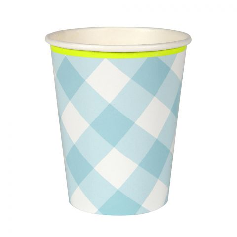 Blue gingham decorated party cup, from Meri Meri